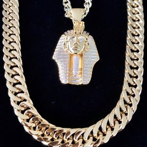 PHARAOH SET FULL DIAMONDS CZ 18K GOLD CHAIN ITALY